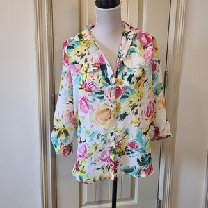 *Extra 50%OFF Floral Chiffon Button Down Blouse